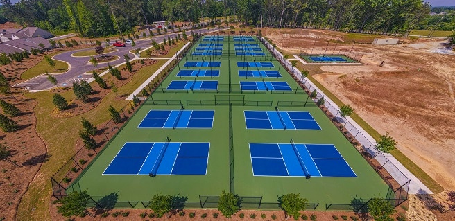 aerial view of Pickleball Center at Cresswind Georgia at Twin Lakes