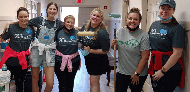 Volunteers at HomeAid Atlanta's Care Day at Forsyth County Family Haven