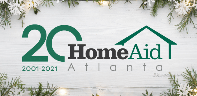 HomeAid Atlanta logo with holiday background to promote holiday giving to the community