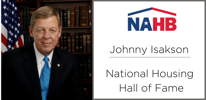 Former Senator Johnny Isakson is inducted into the national housing hall of fame